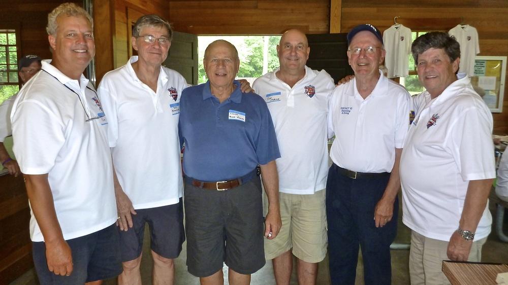 L to R:  Neil Postas, Bob Schoeller, Frank Vicchy,  Jon Myrick, Fred Vickey, Jack McAllister       Gordy Schmidt in background