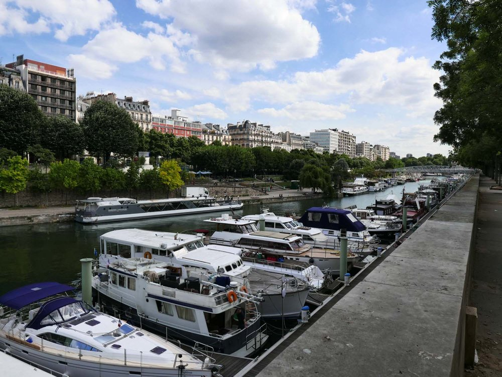 The other end of Canal St. Martin, near Bastille