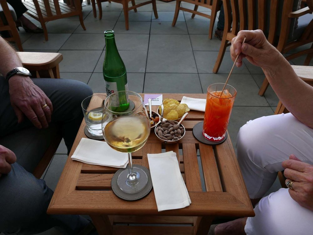 drinks on the terrace of the Hotel Trois Rois