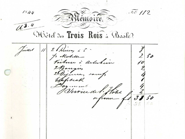 the receipt from the Hotel Trois Rois, 1844