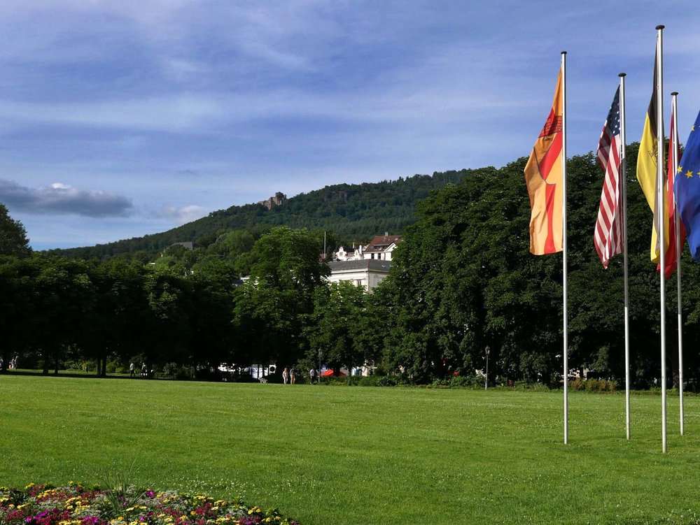 view of the castle on the hill from the casino in town