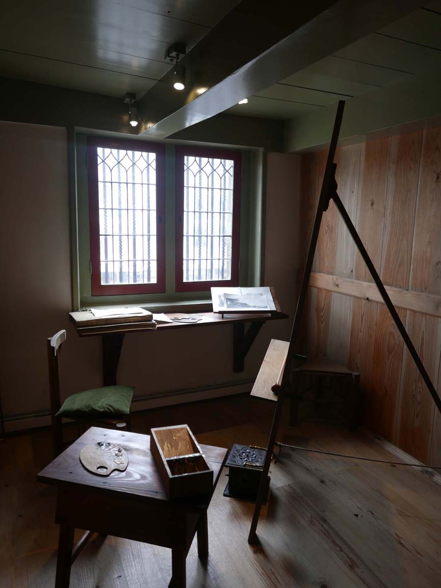 in the student studio, which was set up right above Rembrandt's studio