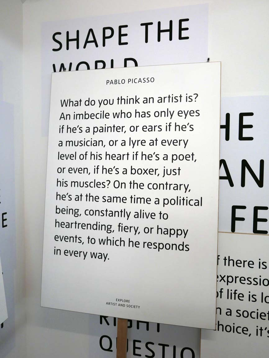 Part of a display on the role of an artist