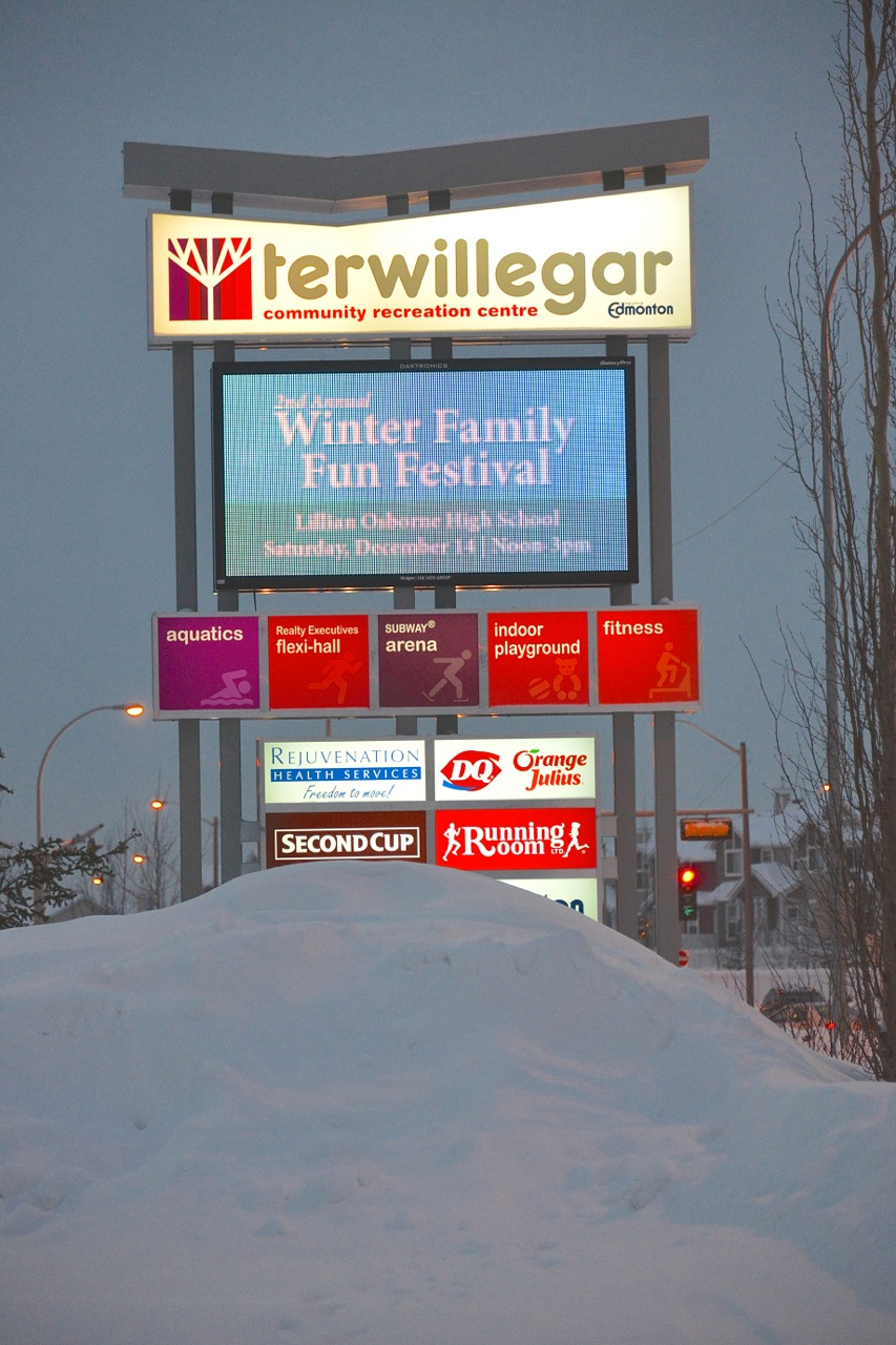 Advertsing for the WinterFest on the TCRC sigital sign.