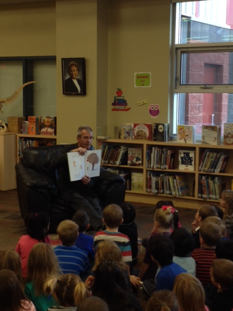 Reading to the Grade 1s of Esther Starkman. (  October 8, 2013)