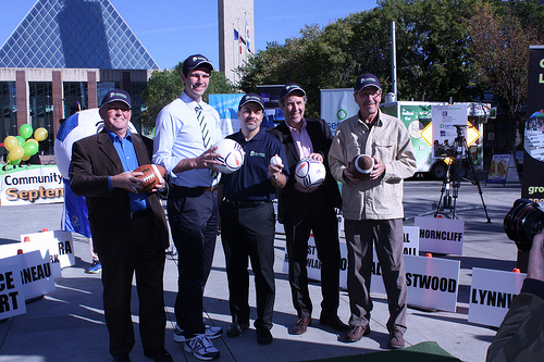 Pictured from left: Councillors Ed Gibbons, Don Iveson, EFCL President Masood Makarechian, and Councillors Ben Henderson, and Bryan Anderson. (September 19, 2013. Churchill Square)