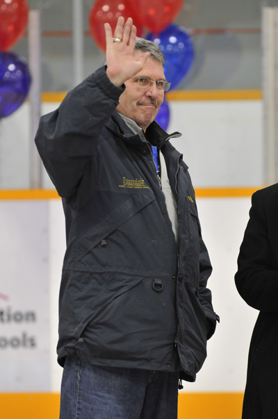 Bryan waves to the crowd at Edmonton's Bill Hunter Arena Opening.