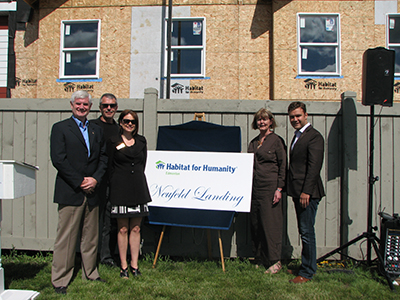 Bryan with other community leaders at the Habitat for Humanity, Neufeld Landing Opening, Rutherford. (July 5, 2013)
