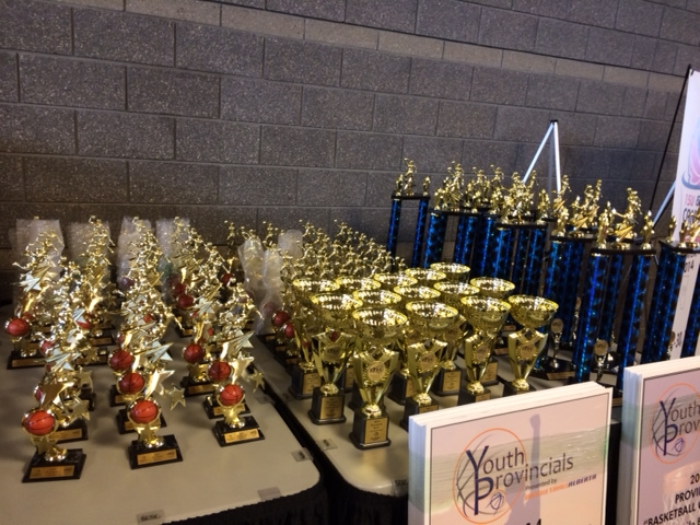Trophy's on hand......93 Teams were present at the Alberta Youth Basketball Championships.