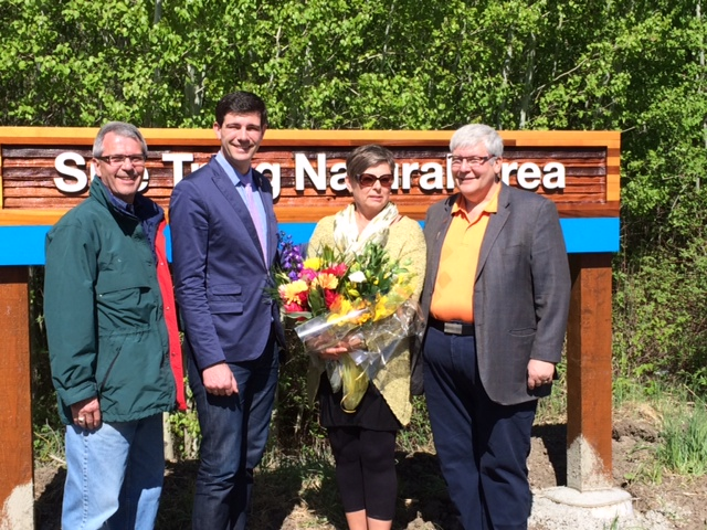 Councillor Bryan Anderson, Mayor Don Iveson, Sue Trigg, and Premier Dave Hancock.