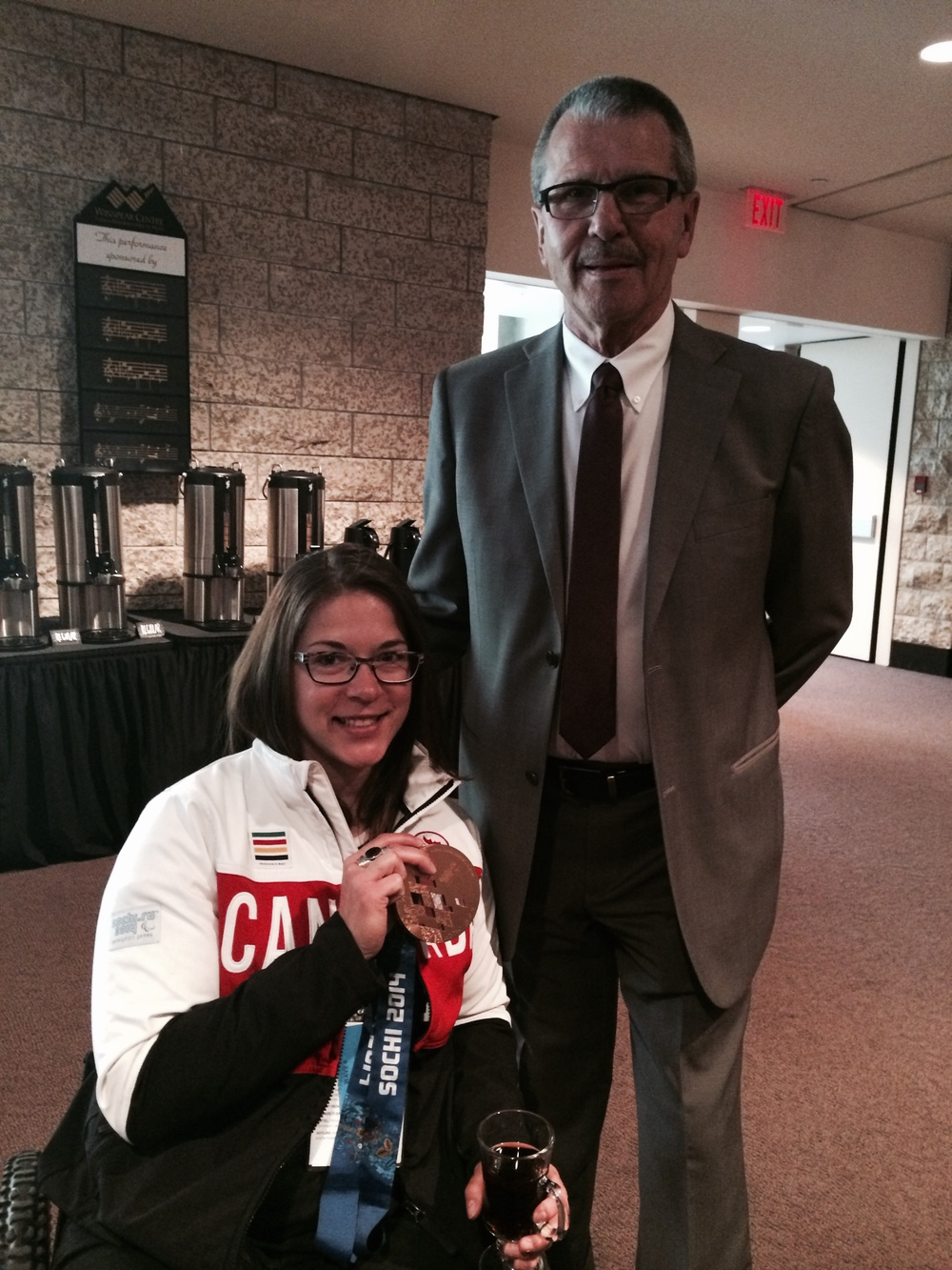 Councillor Anderson with Para-Alpine Sit Skier,  Kimberley Joines , at the June 5, 2014 Olympic Fair Breakfast.