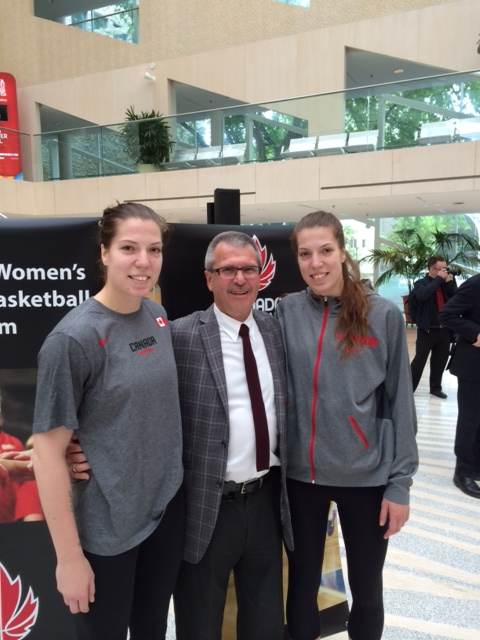 Councillor Anderson with Katherine and Michelle Plouffe at City Hall, June 10, 2014 for the International Classic Basketball Tournament announcement.