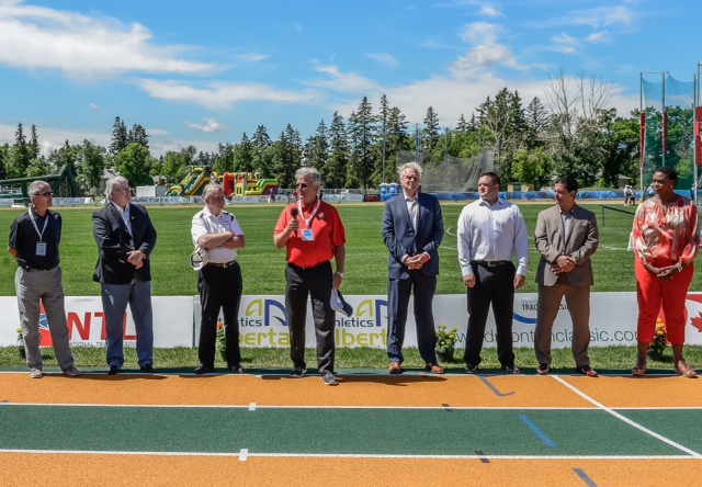 Councillor Bryan Anderson, David Dorward, Laurie Hawn, Peter Erikson, Jerry Bouma, Brian Kropman Peter Ogilvie, and Cheryl Allen at the opening of the 2014 Track Classic. Photo courtesy of Rob Hislop Photography.