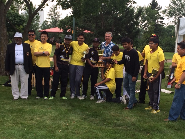 August 17, 2014.  Councillor Anderson brings greetings from the City at the Alberta Schools Cricket Association Cricket Championships at Coronation Park.