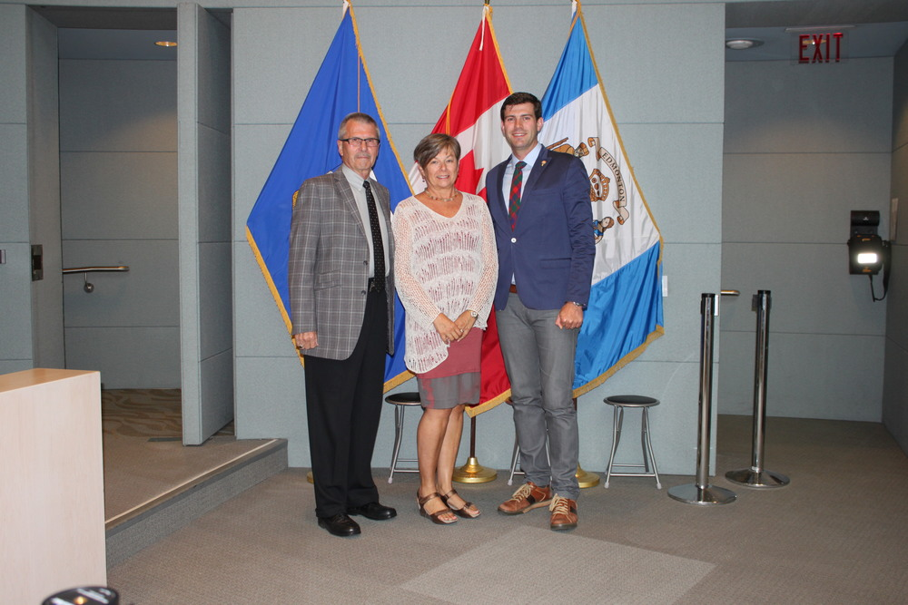 Councillor Anderson, Sue Trigg, and Mayor Don Iveson at the August 27, 2014 Protocol Item acknowledging the naming of the 'Sue Trigg Natural Area' in Riverbend.