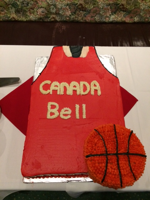 Basketball Cake at the send off party for the Canadian Women's National Basketball Team.