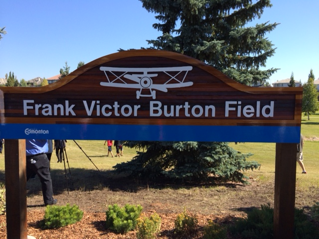 Newly installed sign at the Frank Victor Burton Field in Bulyea Heights.