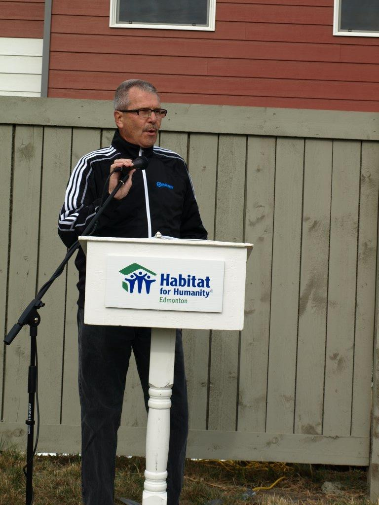 Speaking at the Habitat for Humanity grand opening