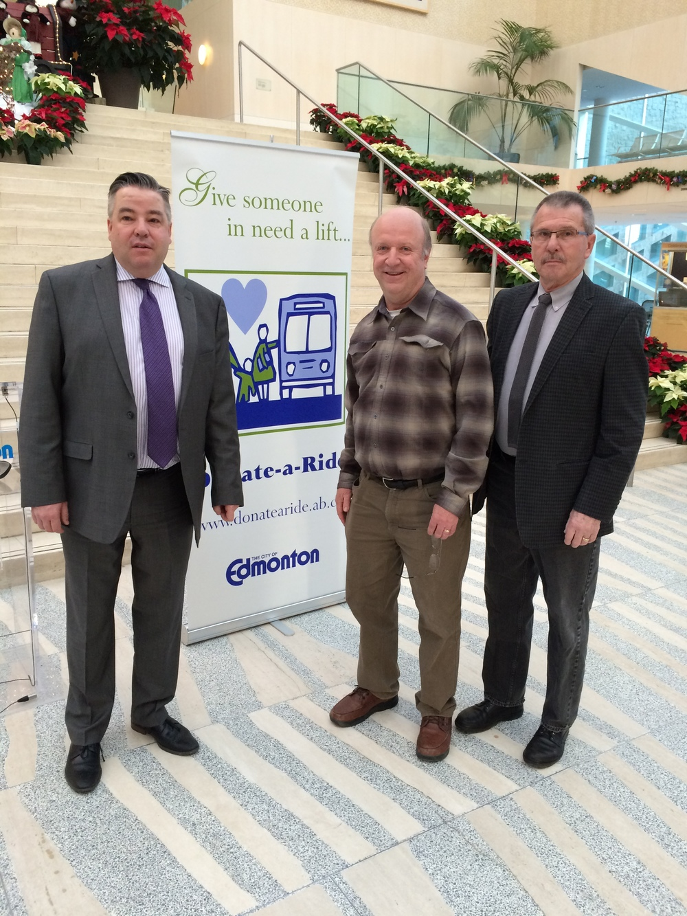 Donate-A-Ride kick off, December 15, 2014.  Councillor Anderson with Councillor Loken and former Councillor Alan Bolstad, who started the Donate-A-Ride program.