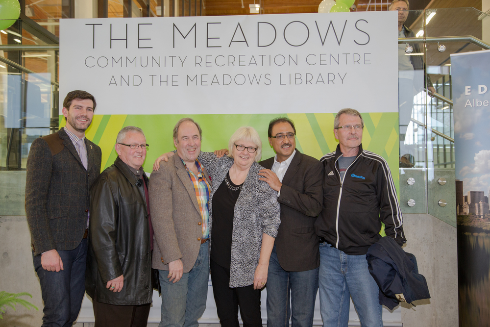 Councillor Anderson at the December 6 2014 Grand Opening of the Meadows Recreation Centre.  With him are Mayor Iveson, Councillors Gibbons, Henderson, and Sohi, and GM of Community Services, Linda Cochrane