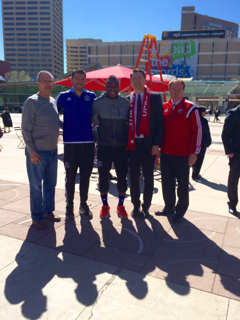 Councillor Anderson, Frank Jonke and Eddie Edwards of FC Edmonton Soccer team, Councillor Michael Walters, and City Manager Simon Farbrother at the Big Jersey Launch, April 30, 2015.