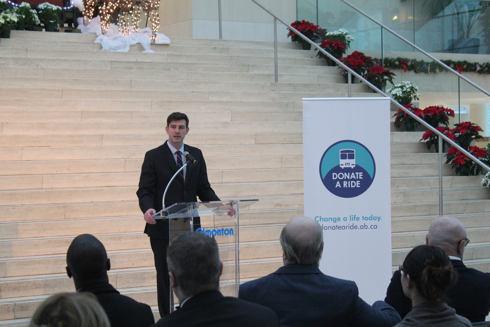 Mayor Iveson speaks at the Donate A Ride kick off December 14, 2015 at City Hall.