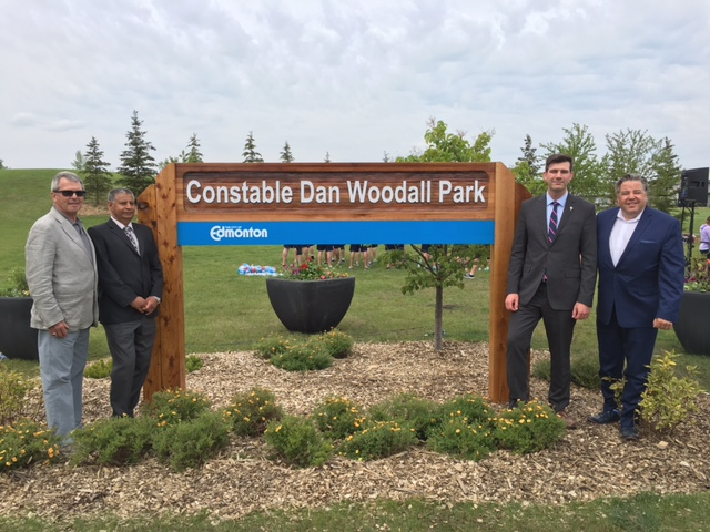 Councillors Anderson, Banga, and Loken, and Mayor Don Iveson at the unveilling of the park sign for Constable Dan Woodall. June 8th 2016.