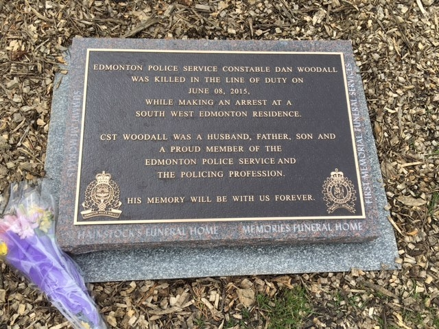 Plaque at the Dan Woodall memorial park. Located in South Terwillegar.