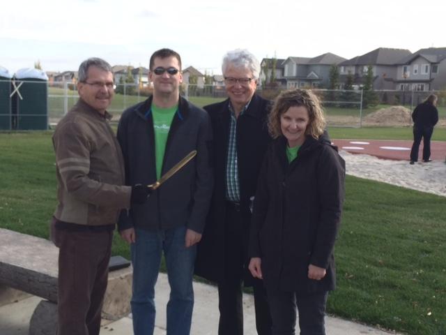 Councillor Anderson, Monte Webber (Comm. League President), MLA Turner, and Mandy Jones ( CL Exec.)