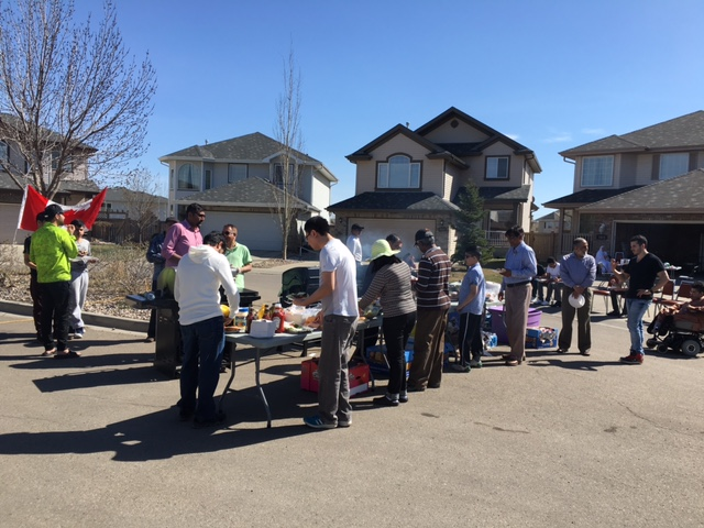 Councillor Anderson attending a block party in Leger.