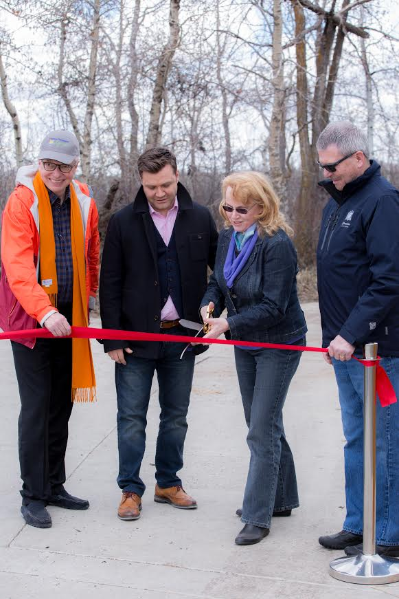 April 29, 2017 Larch Sanctuary event.  Left to right: Dr. Bob Turner MLA, Matt Jeneroux MP, Pam Wight EALT ED, Councillor Bryan Anderson
