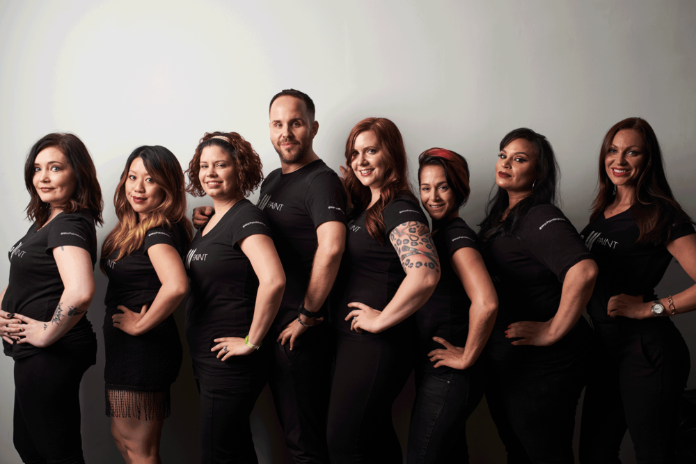 The FW 2016 Trend Collection Team.  From left to right: Hair Assistant Artisan Heidi, Makeup Assistant Artisan Malee, Hair Assistant Artisan Kristina, Artistic Director Benjamin Rodich, Creative Director Jessica Mae, Hair Assistant Artisan Katie, Makeup Assistant Artisan Priscilla (NYC), Makeup Assistant Artisan Alison Joy.