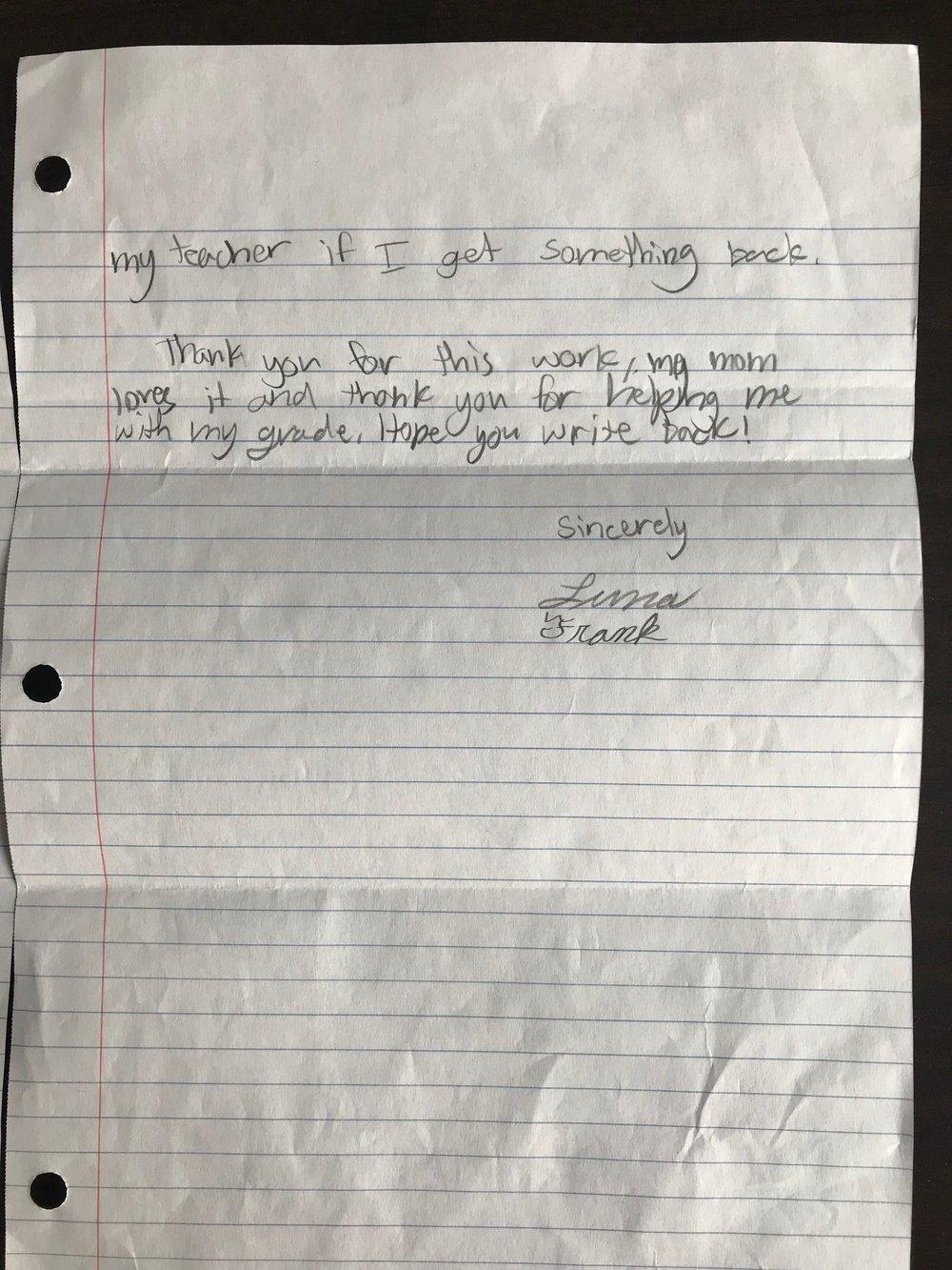 Luna's Letter to Jessica Mae