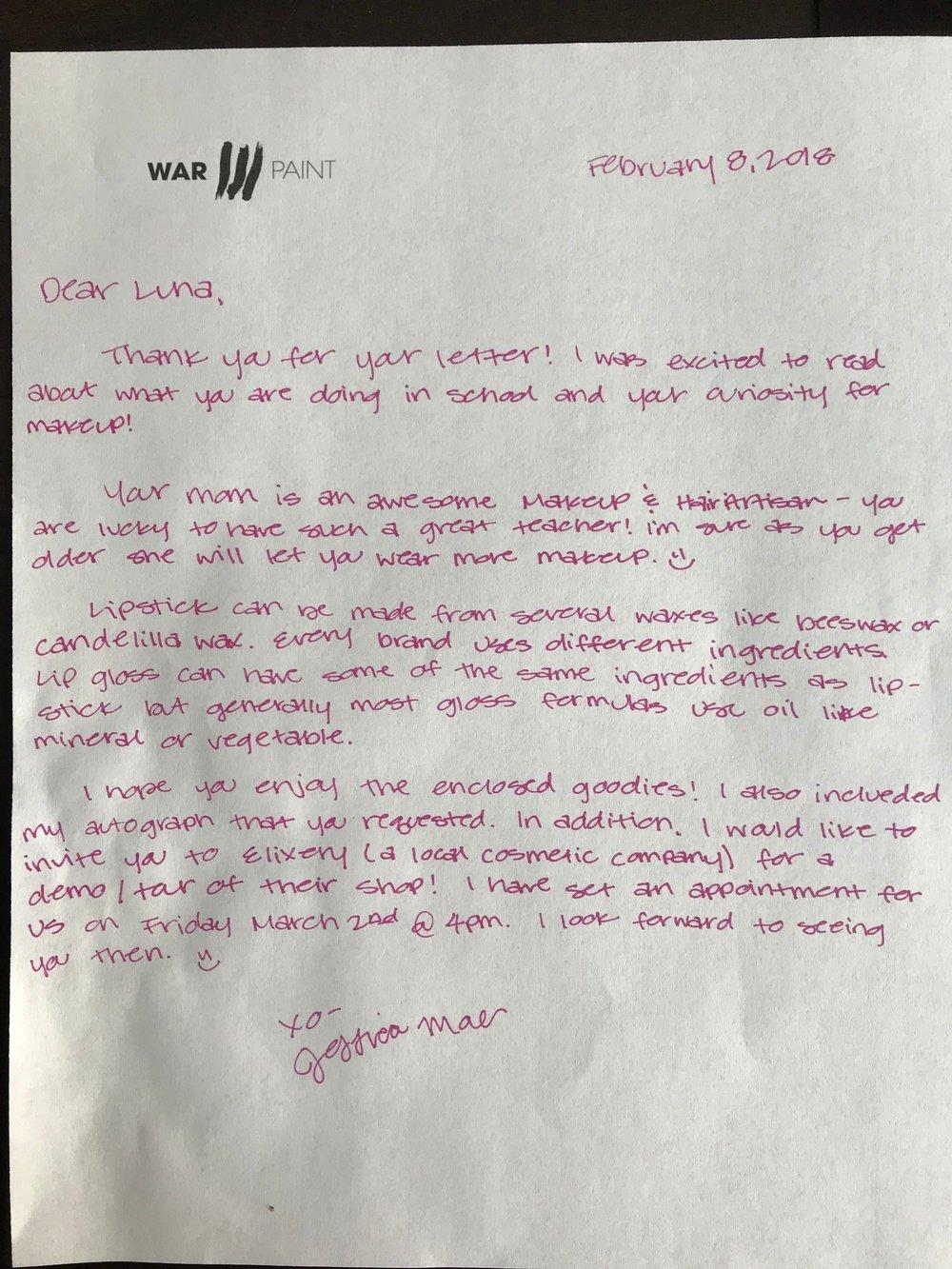 Jessica Mae's letter to Luna