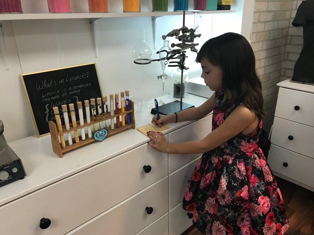 Making lipstick at Elixery