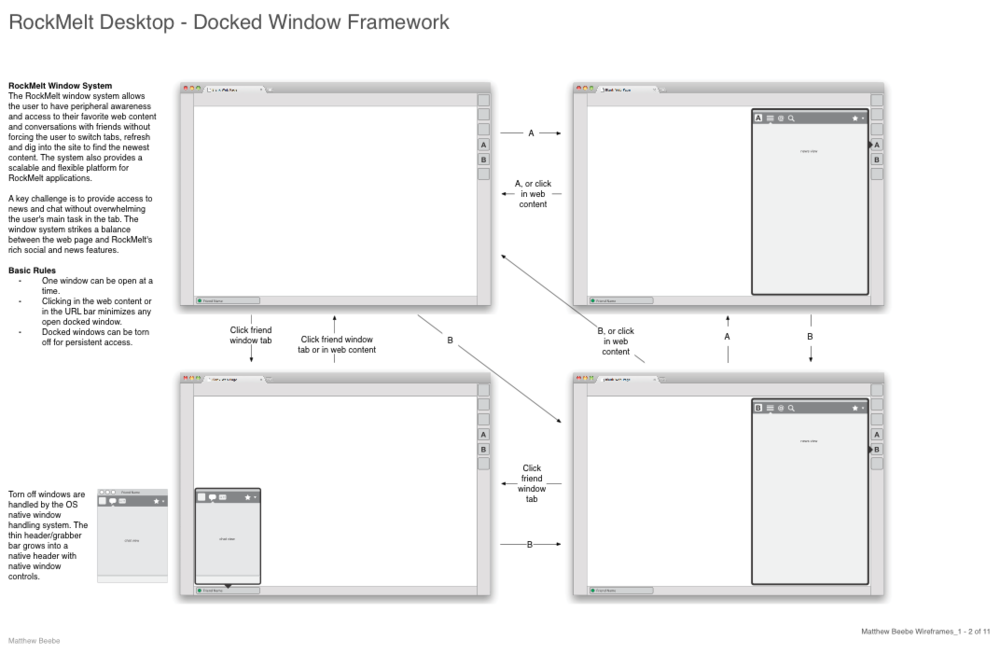RockMelt windows wireframe