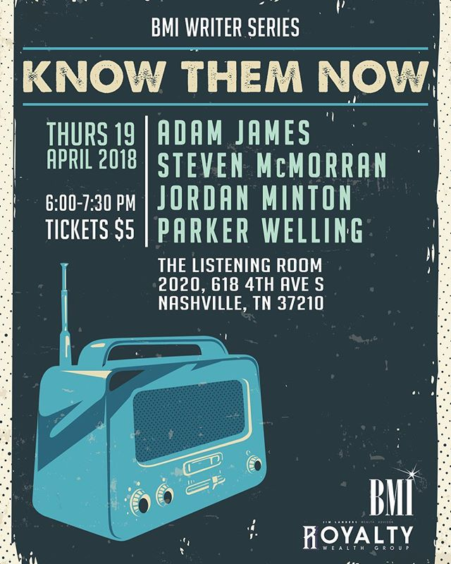 Catch @stevenmcmorran next Thursday, 4/19 playing the @bmi #KnowThemNow writers round at The Listening Room at 6pm!