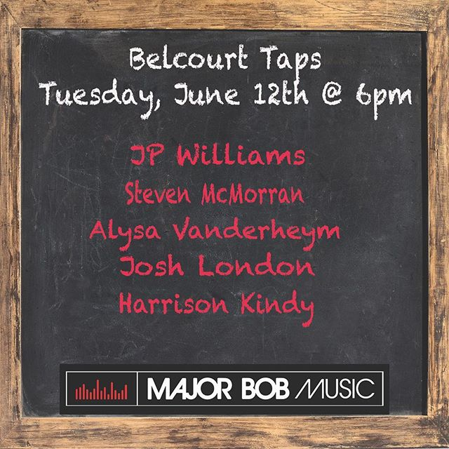 Come hang with us next Tuesday, June 12th @ 6pm at Belcourt Taps and hear @blindmangram  @stevenmcmorran and @joshua_london. Also, don't miss @alysavanderheym making her writers round debut! All songs featuring @harrisonkindy!