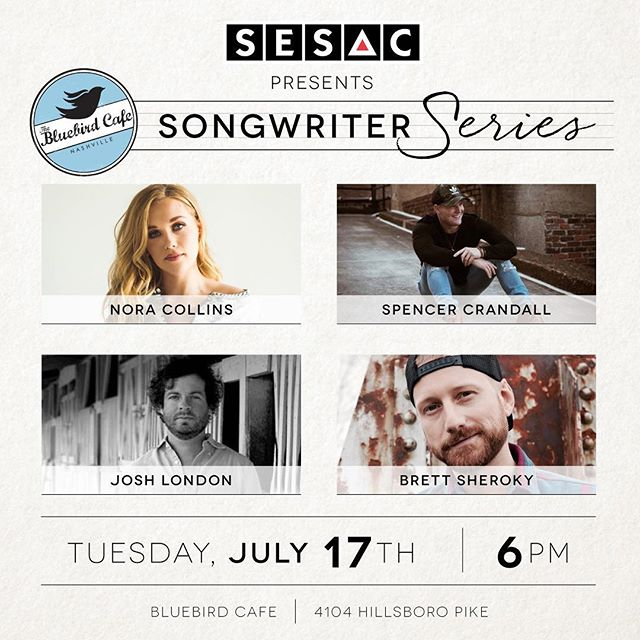 The @sesac songwriter series tonight features @joshua_london! 6pm @bluebirdcafetn!
