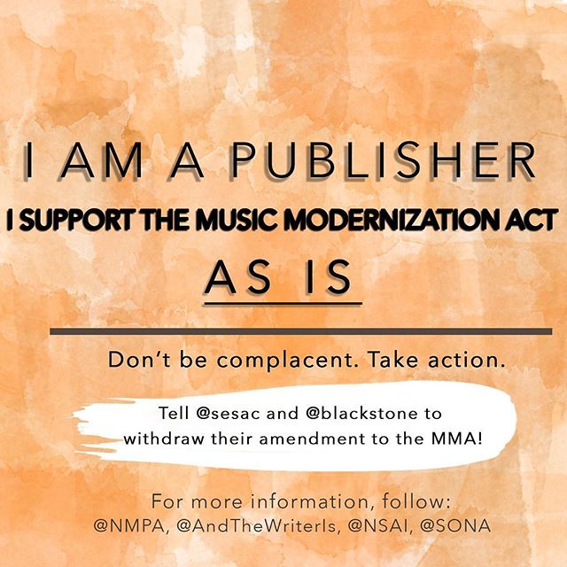 We have nothing but love for our local @sesac reps but also support the #MusicModernizationAct as is!