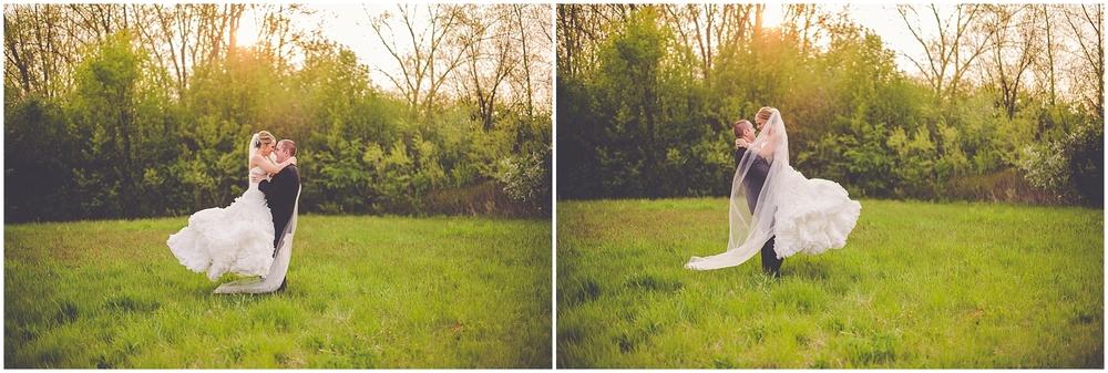 By Kara - Kara Evans - Chicago Illinois Wedding Photographer - Romantic Sunset Newlywed Photos - Sunset Bride and Groom Photos - Sunset Wedding Photos