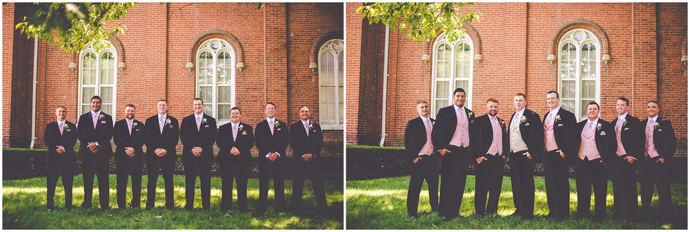 By Kara - Kara Evans - Jacksonville IL Wedding Photographer - Illinois College - Illinois College Wedding - College Campus Wedding - Blush Pink, White, and Gold Wedding - Pink and Gold Groomsmen Vests - Black and Gold Groom Attire