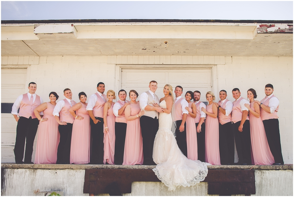 By Kara - Kara Evans - Jacksonville, IL Wedding Photographer - Hamilton's 110 Wedding - Ceremony Details - Pink, Gold, and White Wedding - Jacksonville Illinois Bridal Party - Industrial Bridal Party Photos