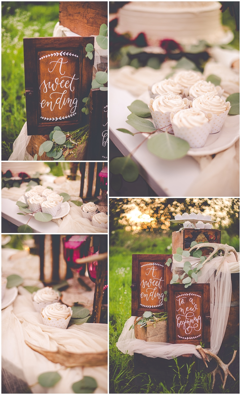 By Kara - Kara Evans - Bradley Bourbonnais Tuesdays Together - Styled Shoot - Rustic Floral Boho Wedding Styled Shoot - Bradley Bourbonnais IL Wedding Vendors - Summer Floral Boho Styled Shoot - Floral Boho Wedding Cake Table - Outdoor Wedding Sweets Table