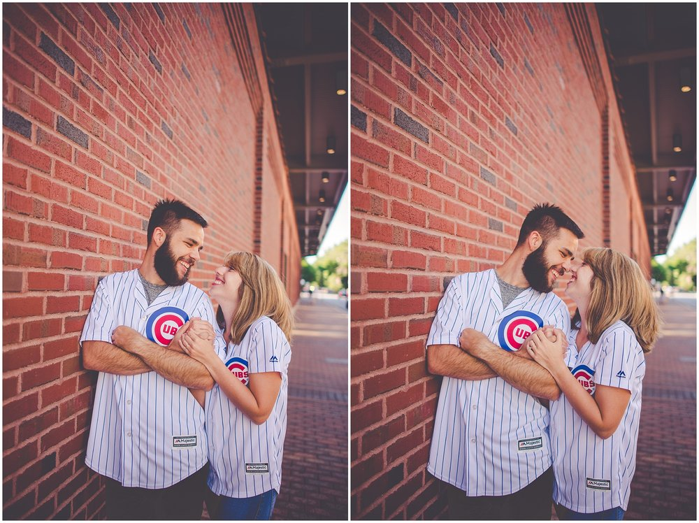 By Kara - Kara Evans - Chicago Engagement Photographer - Wrigleyville Engagement Session - Chicago Cubs Wrigley Engagement Pictures - Summer Chicago Cubs Engagement Photos