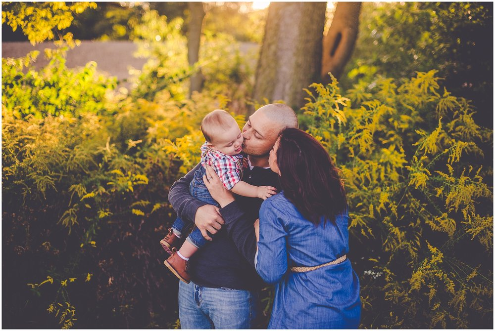 By Kara - Kara Evans - Jacksonville, Illinois Family Photographer - Nine Month Old Photos - Fall Family Photos - Suspenders and Boots Boy Outfit - September Sunset Family Session