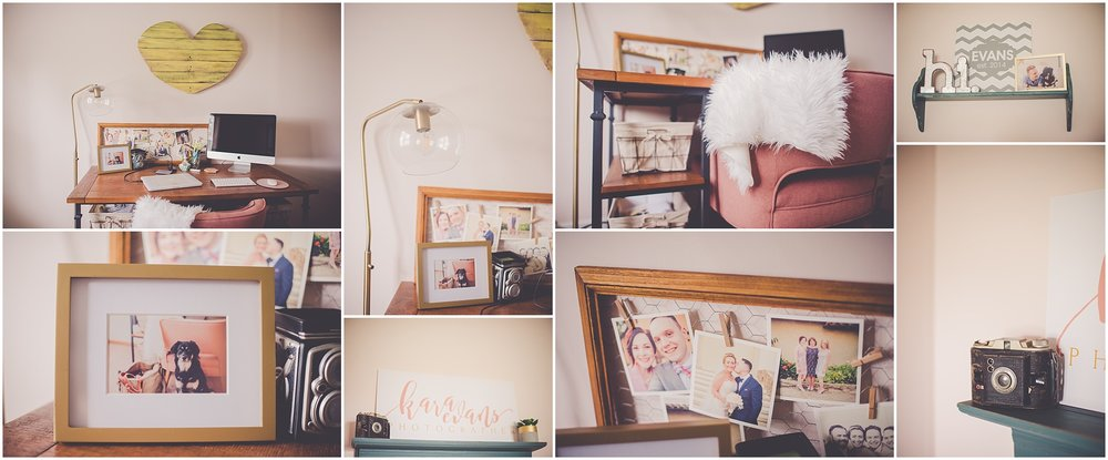 Kara Evans Photographer - Central Illinois Wedding Photographer - My Pink Office Makeover - Sherwin-Williams SW 6322 Intimate White Office - Pink Office Walls