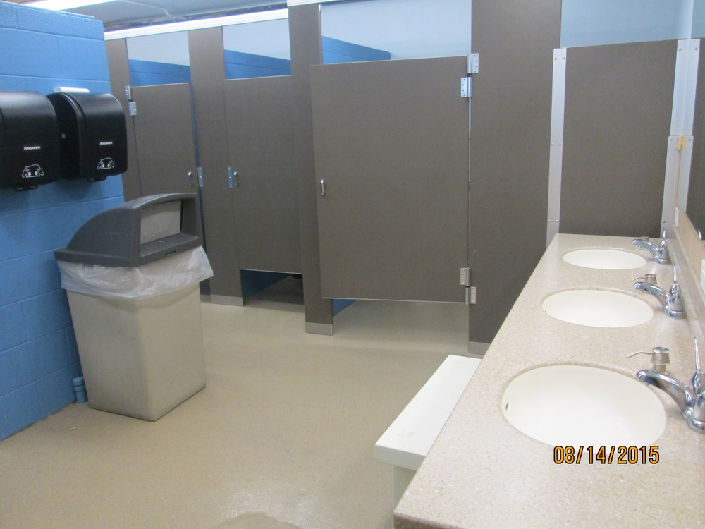 Newly remodeled Gerwick Lodge restrooms.