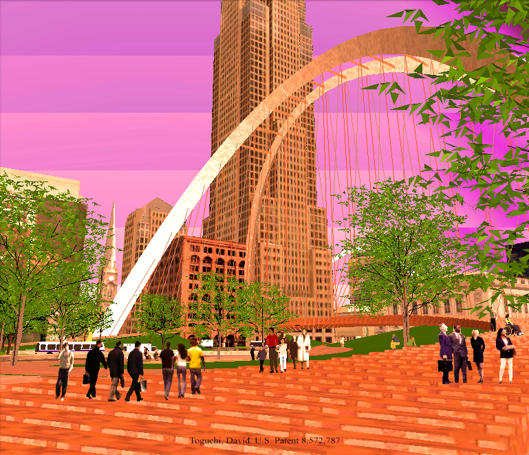 Curved Pedestrian Bridge Design Linking Public Square