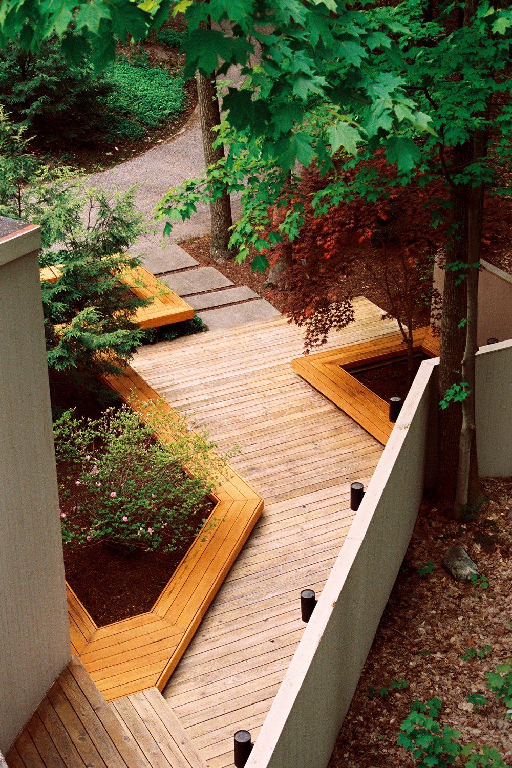Contemporary Deck Design and Courtyard Landscape